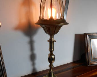 VICTORIAN LAMP / Antique Lamp /  Victorian lampshade / Victorian table lamp / Aluminized brass lampshade / Vintage lamp