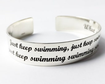 925 Silver Engraved Bracelet, Just Swim Personalized Swimmer Gift with Secret Message 1/2 Inches