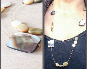 lightweight airy necklace in beige grey shades of mother of pearl on strong gold metal wire - unique one of a kind design by Studio Margreet