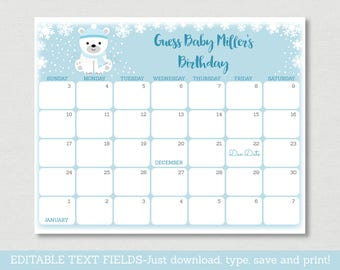 Winter Bear Baby Due Date Calendar / Winter Baby Shower / Bear Baby Shower / INSTANT DOWNLOAD Editable PDF A439
