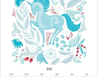 Blue Unicorn 2018 Calendar, Poster, Wall Calendar