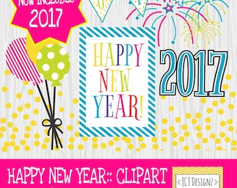 2017 New Years Clipart, New Years clip art, Happy New Year: Colored Version
