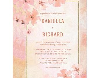 Pretty Peach Floral Wedding Invitations - Printed Peach Flowers Wedding Invitations - Peach, Pink, Gold