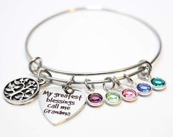 grandma bracelet, personalized grandma bracelet, grandma birthstone bracelet, grandma bangle, grandma jewelry, grandma birthstone jewlery