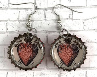 Sagrado Corazon Earrings Sacred Heart Earrings Heart Jewelry Mexican Jewelry Bottle Cap Earrings Beer Caps Recycled Jewelry