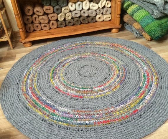 MADE TO ORDER häkeln runden Teppich schöne grau mit