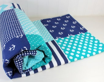 Nursery Decor, Minky Baby Blanket, Nautical, Anchor, Baby Blanket, Baby Shower Gift, Baby Quilt, Teal, Aqua, Blue, Navy, White, Baby Boy