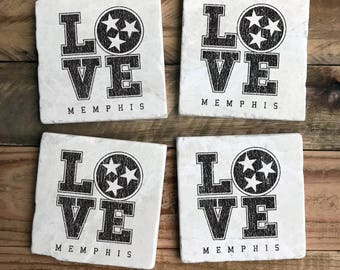 Love Memphis, Black Design, Tristar, Marble Coasters, Knoxville, Memphis, Nashville, House Warming, Gift for Him, Gift for Her, Grad Gift