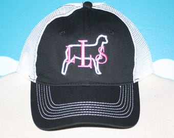 Monogram Baseball Hat - Show Sheep Monogrammed Cap - Embroidered Livestock Lamb Shower Ball Cap - Personalized Embroidered Sheep Hat
