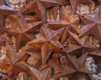 "Set of 100 Rusty Barn Stars 1.5 inch Dimensional Primitive Country Rustic Style Stars 1 1/2 "" in Diameter Patriotic Flag Craft Americana"