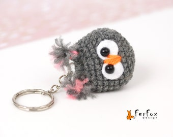 Plush owl keychain Owl key ring Blue owl bag charm Small gift for friend Party favor Animal keychain Animal lover gift Owl handbag accessory