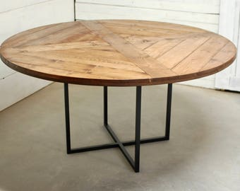 Round Wood Industrial Dining Table, Wood Furniture, Modern Kitchen Table,  Kitchen Table,