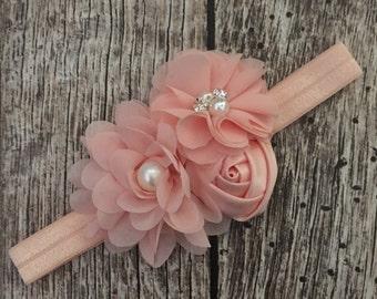Peach floral headband, peach headband, vintage headband, flower girl headband headband, ivory lace headband, flower girl, vintage headband,