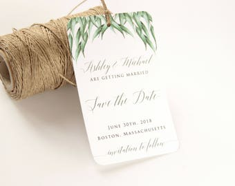 Eucalyptus Save the Date Tag, Save the Date Tag, Save the Date Luggage Tag, Greenery Wedding Tag, Destination Wedding Save the Date