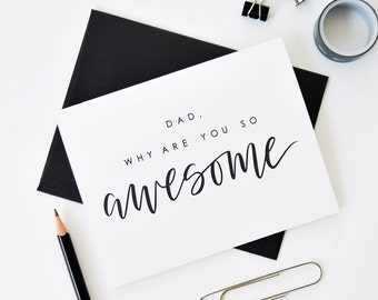 Happy Father's Day Card, Awesome Dad Card, Father's Day Gift, Hand Lettered Card, Calligraphy Card, Dad Birthday Card, Dad Card / A2 / Blank