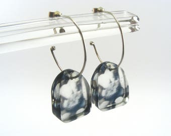 Pebble Half Hoop Earrings - Small Dangle Earrings - Perspex Hoop Earrings -  Pebble Drop Earrings - Perspex Jewelry Handmade