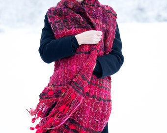 Red Mohair Large Knit Scarf, Scarf with Fringe, Long Wool Scarf, Handmade Oversized Scarf - SC0866CKW