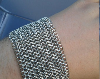 Wide Silver Chainmaille Cuff