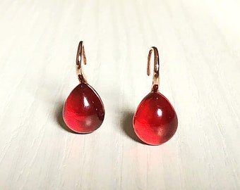 Silver Parure Earrings ring Red intense passion