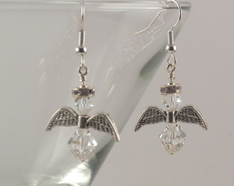 Clear Swarovski crystal angels earrings with crystal halos and silver accents