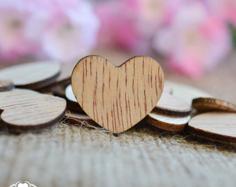 "Wooden Hearts 1"" - Rustic Wedding Table Confetti - Wooden Hearts - Wedding Invitations"