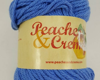 Peaches & Creme Cotton Yarn, Blueberry, 100% USA Grown Cotton, 2.5 oz, Worsted, 4-ply, 120 yds