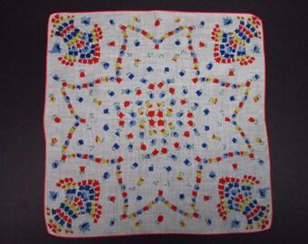 Vintage Handkerchief Colored Floral (vh156)