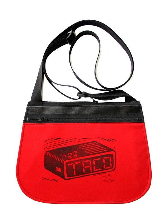 Tacos, taco time, block print, red, black vinyl, cross body, vegan leather, zipper top