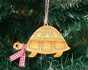 Tortoise Wooden Christmas Ornament Christmas Tree Decoration - Laser Cut Wood - Christmas Bauble