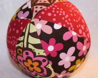 Baby Girl Gift, Large Cloth Ball, Jingle Bell Ball, Handmade Toy Ball, Chocolate Lollipop, Red Pink Brown, Baby Shower Gift, Toddler Toy