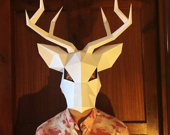Make Your Deer Mask from paper, PDF pattern mask, Polygon Face DIY Paper Mask, Papercraft, Party Animal