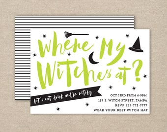 witch party invitation - halloween party invitation