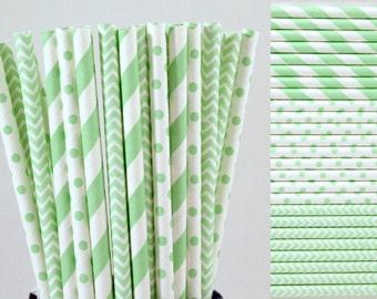 Mint Green Paper Straw Mix-Mint Green Straws-Striped Straws-Chevron Straws-Polka Dot Straws-Wedding Straws-Mason Jar Straws-Party Straws