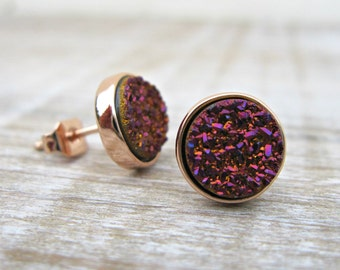 Purple druzy earrings, rose gold druzy studs, vermeil, bridesmaid gift, bridesmaid jewelry, plum earrings, bridal earrings, great gatsby