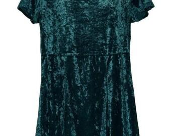 D_007) Vintage Velvet short green dress
