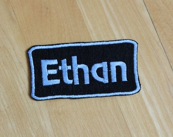 Custom Felt Iron-on Name patch, 4x2 inches, Monogrammed Personalised name tag, embroidered name patch F9