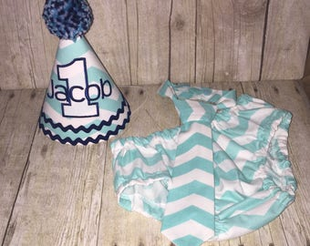 Boys Cake Smash Set - Boys First Birthday Outfit - Aqua Chevron - Diaper Cover, Tie & Birthday Hat - First Birthday Outfit Teal Light Blue