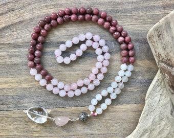 Rhodonite, Rose Quartz and Moonstone Mala Bead Necklace  /Girlfriend Gifts / Rose Quartz Knotted meditation beads/ Yoga necklace/ Japa Mala