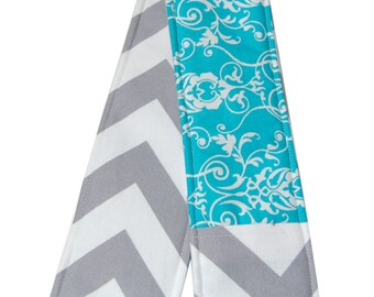 Gray Chevron and Teal Floral Reversible Strap Cover