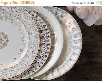 ON SALE Mismatched Vintage Plates for Wedding Set of 4 Dessert Plates Bread and Butter Bridesmaid Luncheon, Tea Party Ca 1940s