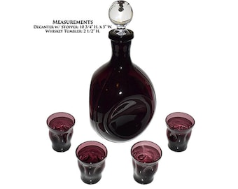 Cambridge Amethyst Pinch Decanter And Four Whiskey / Shot Glasses