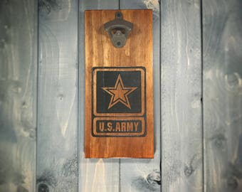 Rustic Army Wall Mounted Bottle Opener - Army, patriotic, military, bar, home, man cave, personalized, customized