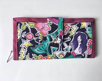 Mermaid Tattoo Flash and Lightning Bolts Libs Elliott Clutch Wallet
