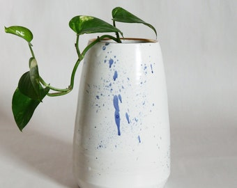 Handmade Pottery Vase; Ceramic Vase, Blue Splatter; Gold