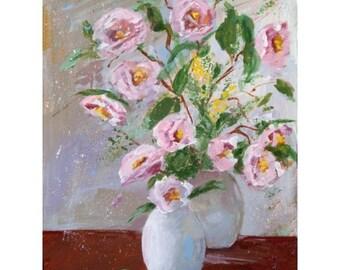 Original Painting * PAPER ROSES * Flower Decor * Art By Rodriguez