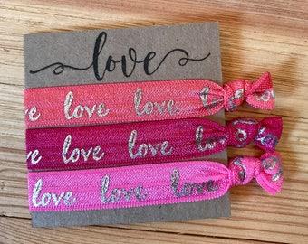 Love hair ties, beach hair ties, hair ties, beach hair, party favors, wedding gifts, bridesmaid gifts, Birthday, yoga hair ties, cute