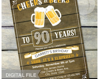 "Surprise 90th Birthday Invitation Cheers & Beers Invite Rustic Wood Country Style - Men Women - 5"" x 7"" Digital Invite"