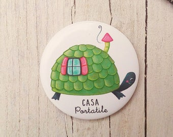 Illustrated Magnet - Magnetic Fridge illustration with turtle