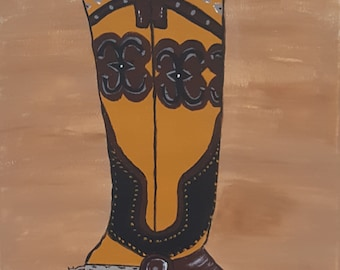 Original Cowboy Boot Acrylic Painting on 16x20 inch stretched canvas