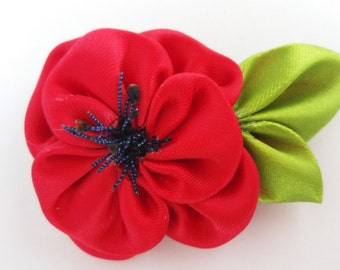 Poppy flower brooch, Kanzashi flower brooch, red kanzashi brooch, fabric brooch, ladies brooch. Poppy brooch, accesories, brooch kanzashi